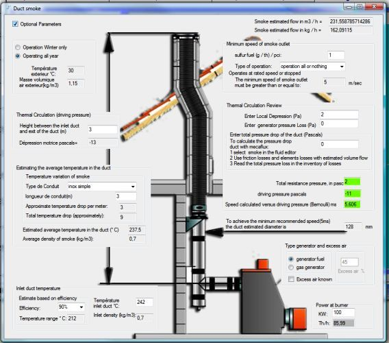 flue duct Smoke / chimney (diameters and calculation software)