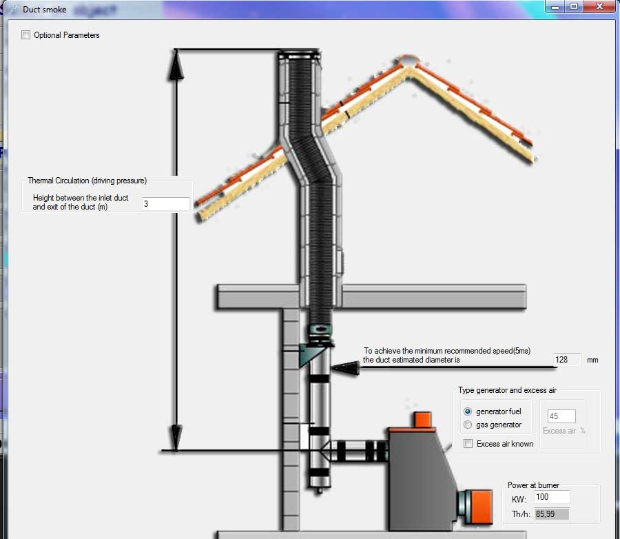 Calculating Simplified Flue Gas Duct