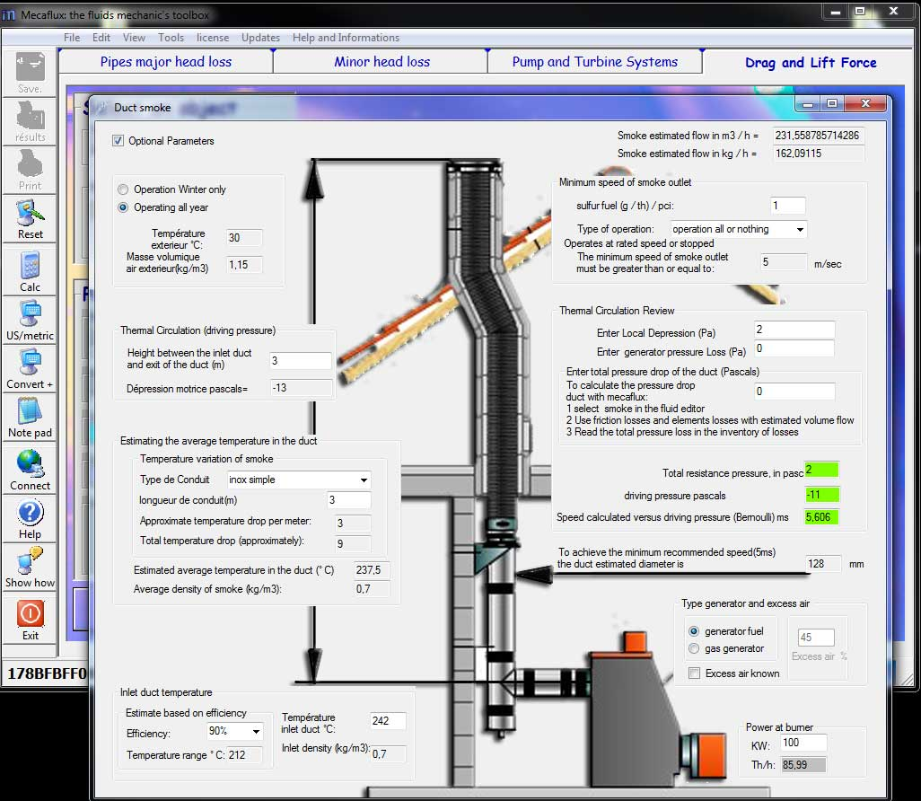 Diameter Pipe Smoke Flue Calculation Software